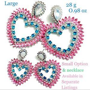 Large Rhinestone Heart Gem Earrings